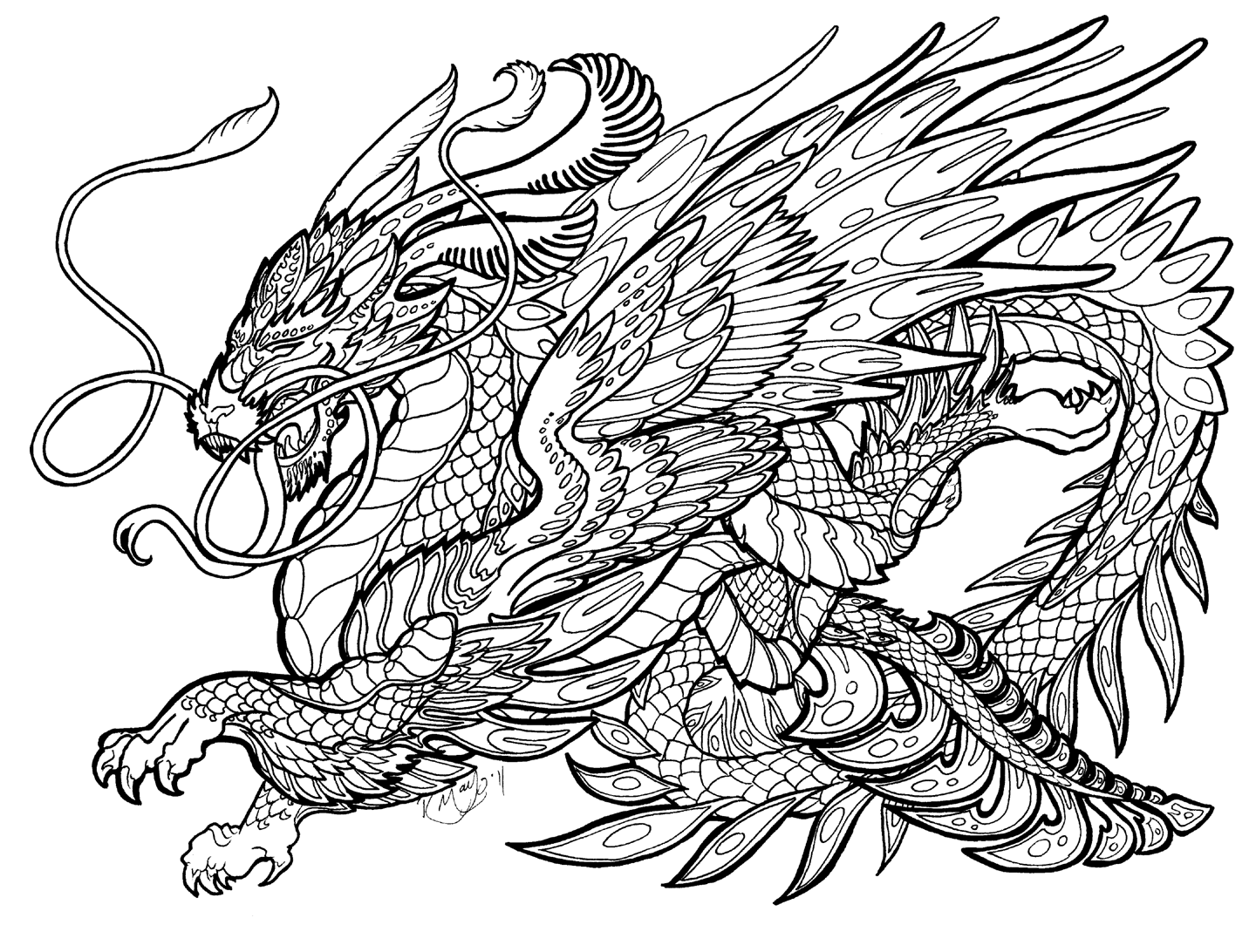 complex coloring pages of dragons - photo#25