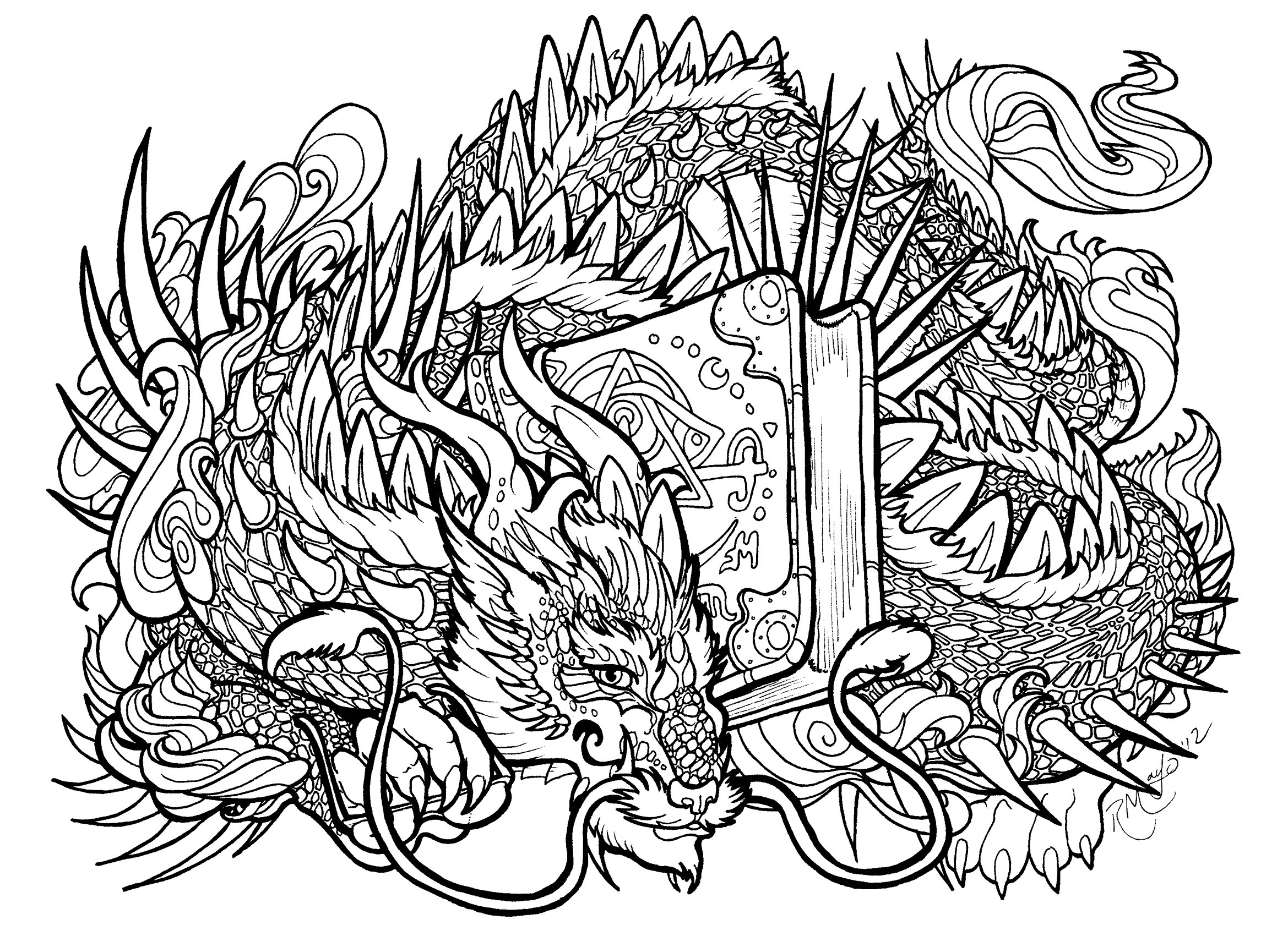 The Line Artwork : Bookwyrm lineart by rachaelm on deviantart