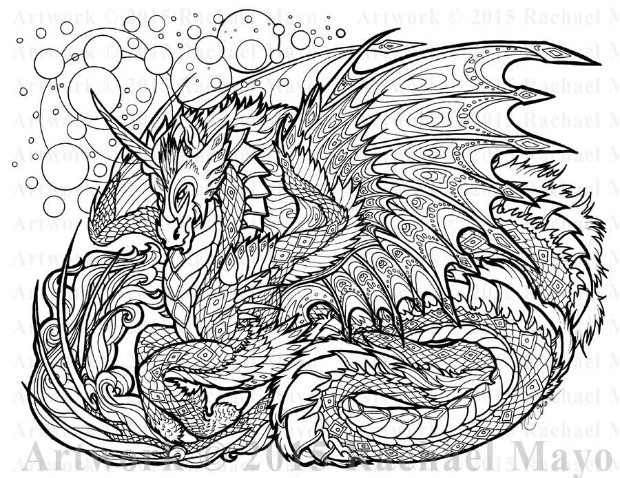 Mandalas De Dragones Para Colorear Descargar Imprimir Y: Tanzanite Foresight Lineart By Rachaelm5 On DeviantArt
