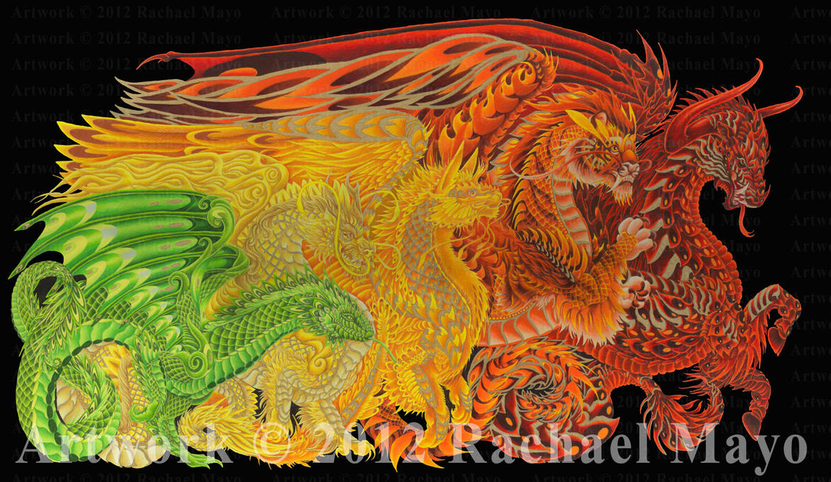 Dragons of Every Dawn WIP: YG, Y, YO, O, RO by rachaelm5
