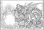 Black Sun Dragon lineart