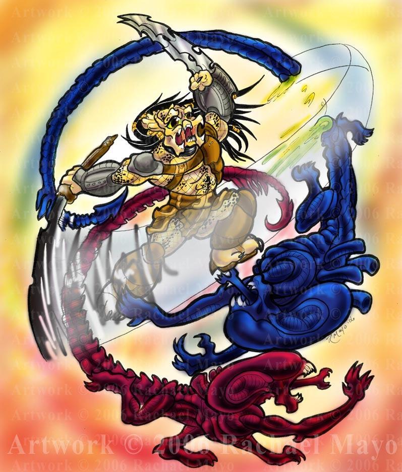AvP: Toon Wars color by rachaelm5