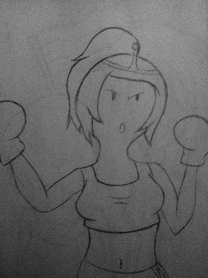 Boxer girl bubblegum (sketch) by Dmmendez90