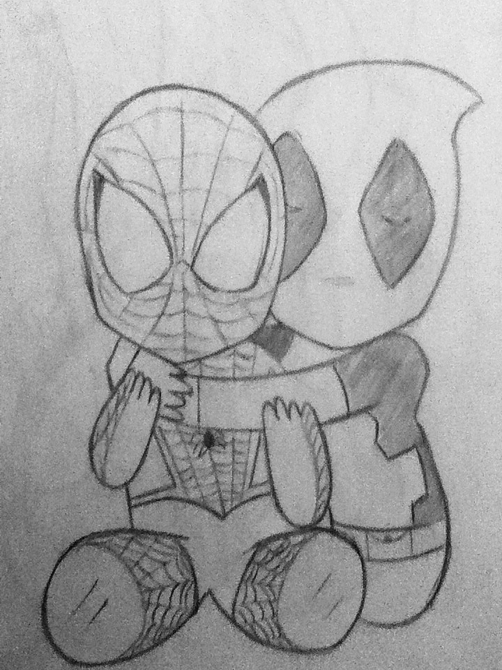 Please Forgive me, chibi Deadpool and Spider-Man by Dmmendez90