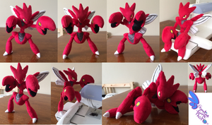 Scizor Pokemon Plush ! 13'' Completely Poseable! by GuardianEarthPlush