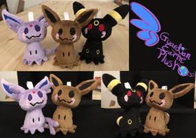 Pokemon Espeon Umbreon and Eevee Mimikyu Plush by GuardianEarthPlush