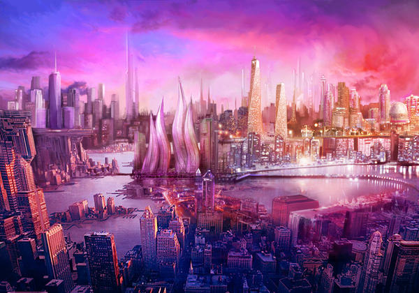 Raspberry sky by yitfong 25+ Beautiful Examples of Futuristic City Skylines Illustrations