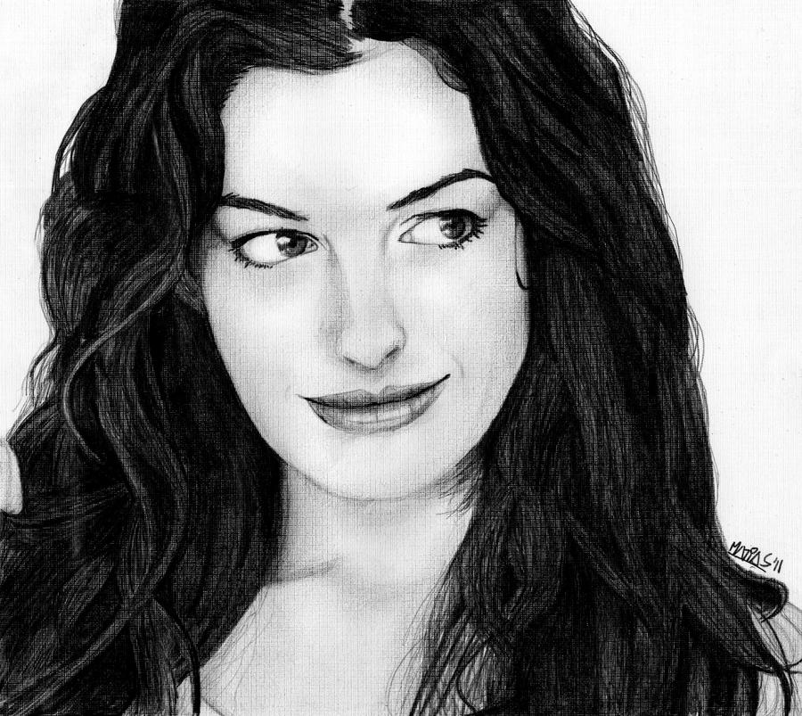 Anne Hathaway Drawing: Anne Hathaway Portrait By M4TiKo On DeviantArt