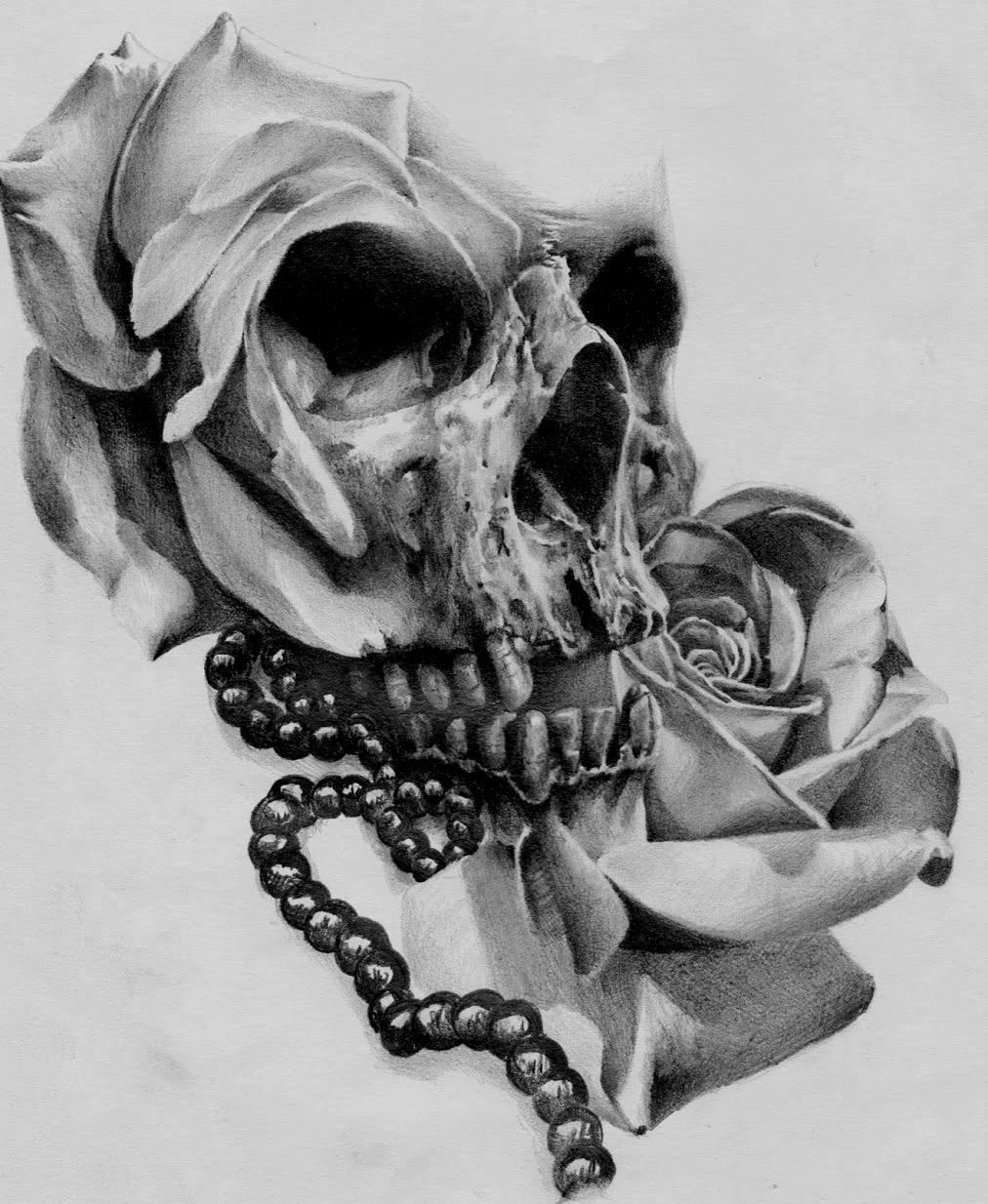sketch skull rose par stephane bueno by BlackCornerTattoo ...