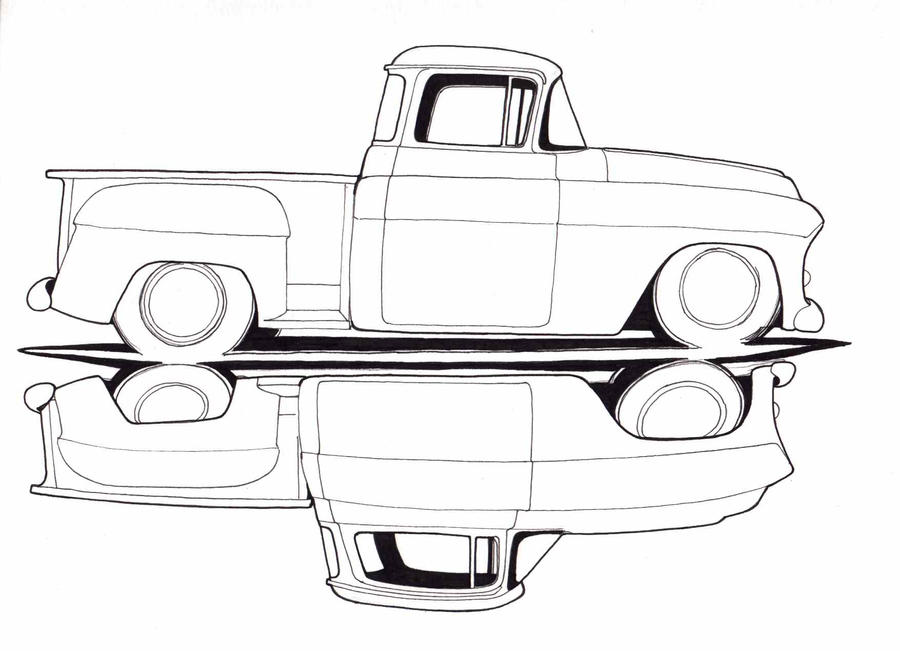the gallery for old chevy truck drawings. Black Bedroom Furniture Sets. Home Design Ideas