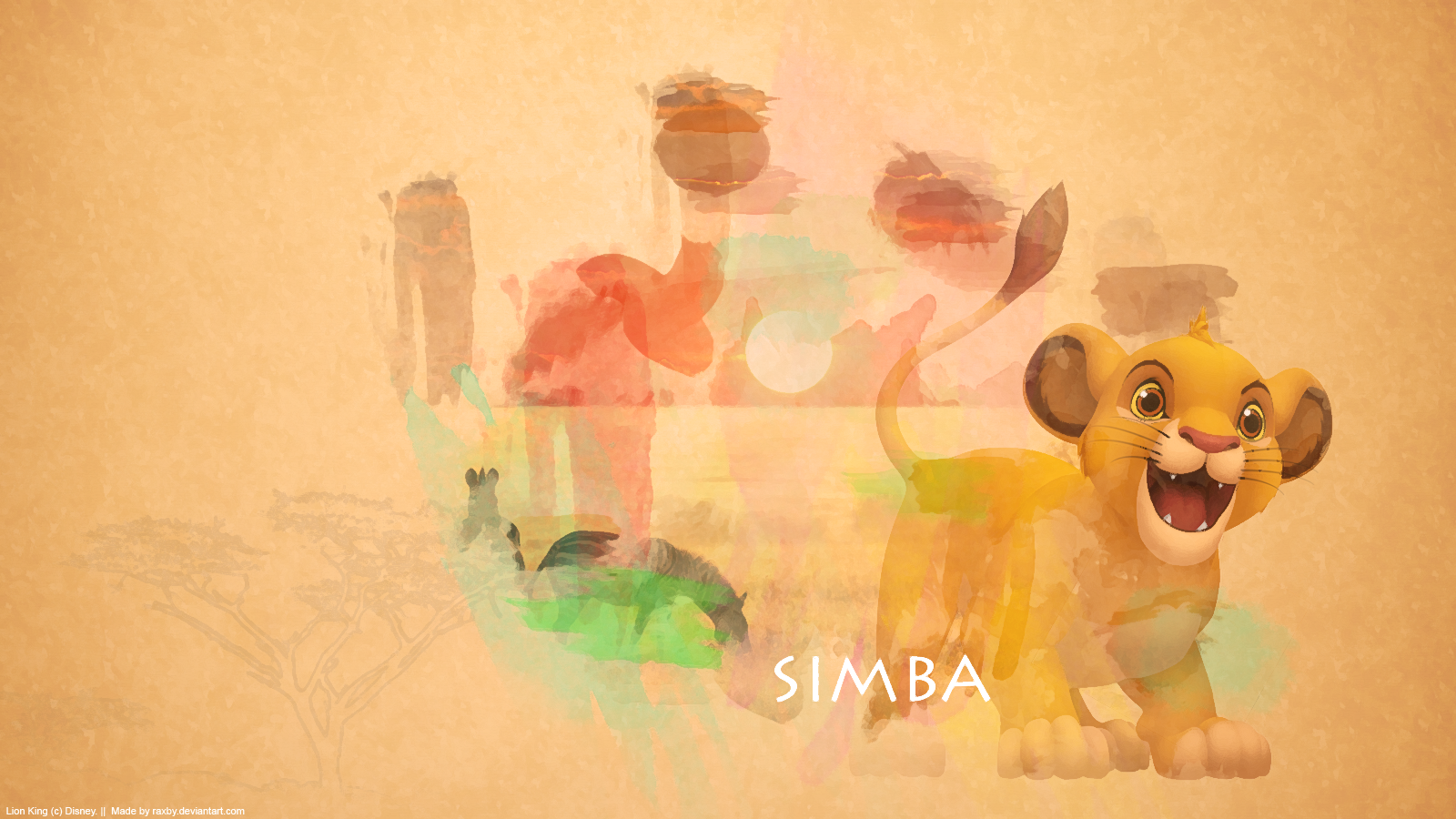 Simba Watercolour Wallpaper by Raxby