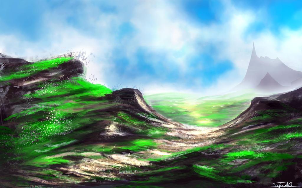 Green scape 1 by FelFortune