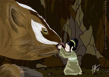 Toph with Badgermoles by Anukht