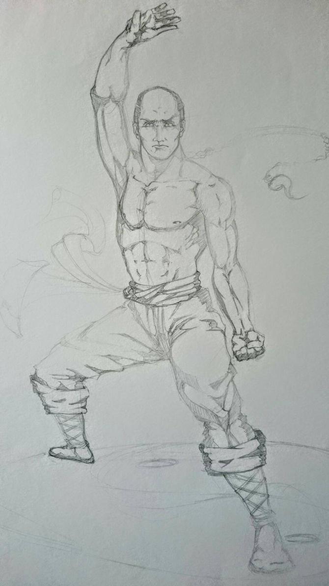 Shaolin monk sketch  by hugofb87