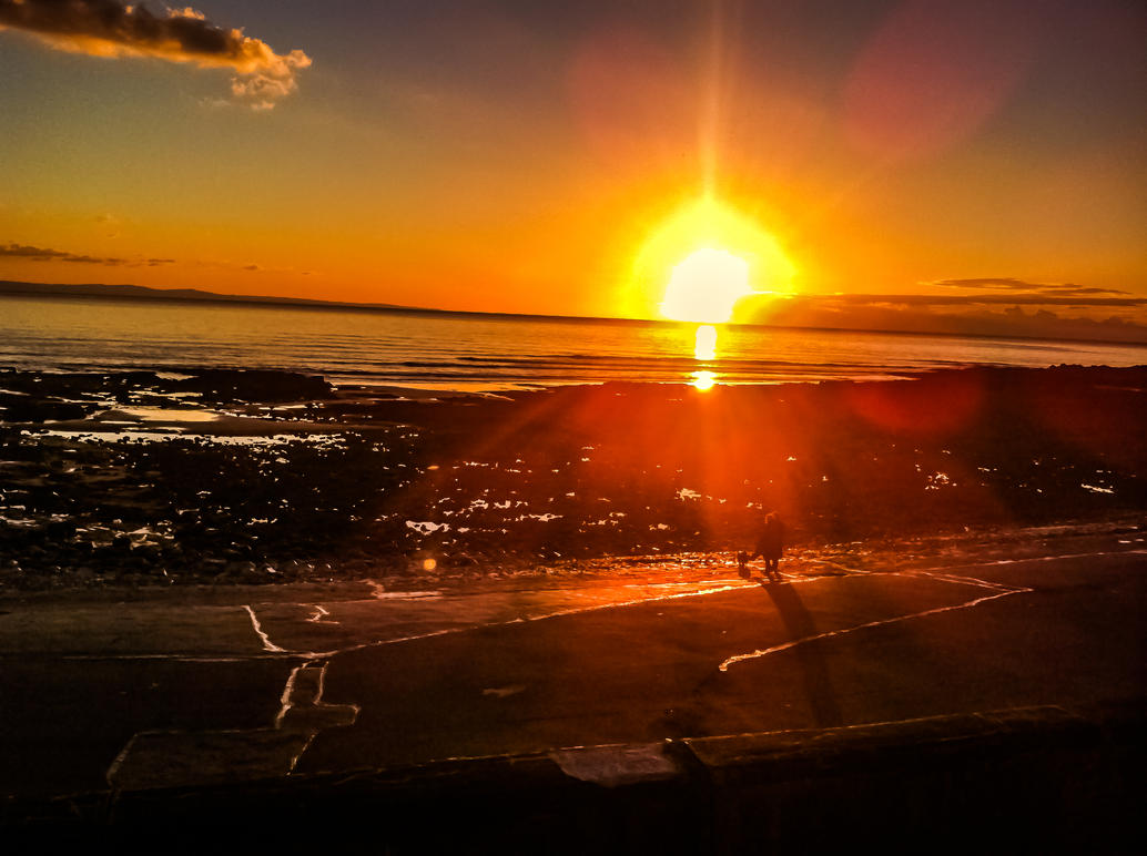 Sunset Overlooking Porthcawl Town Beach Nov 2012 by welshrocker