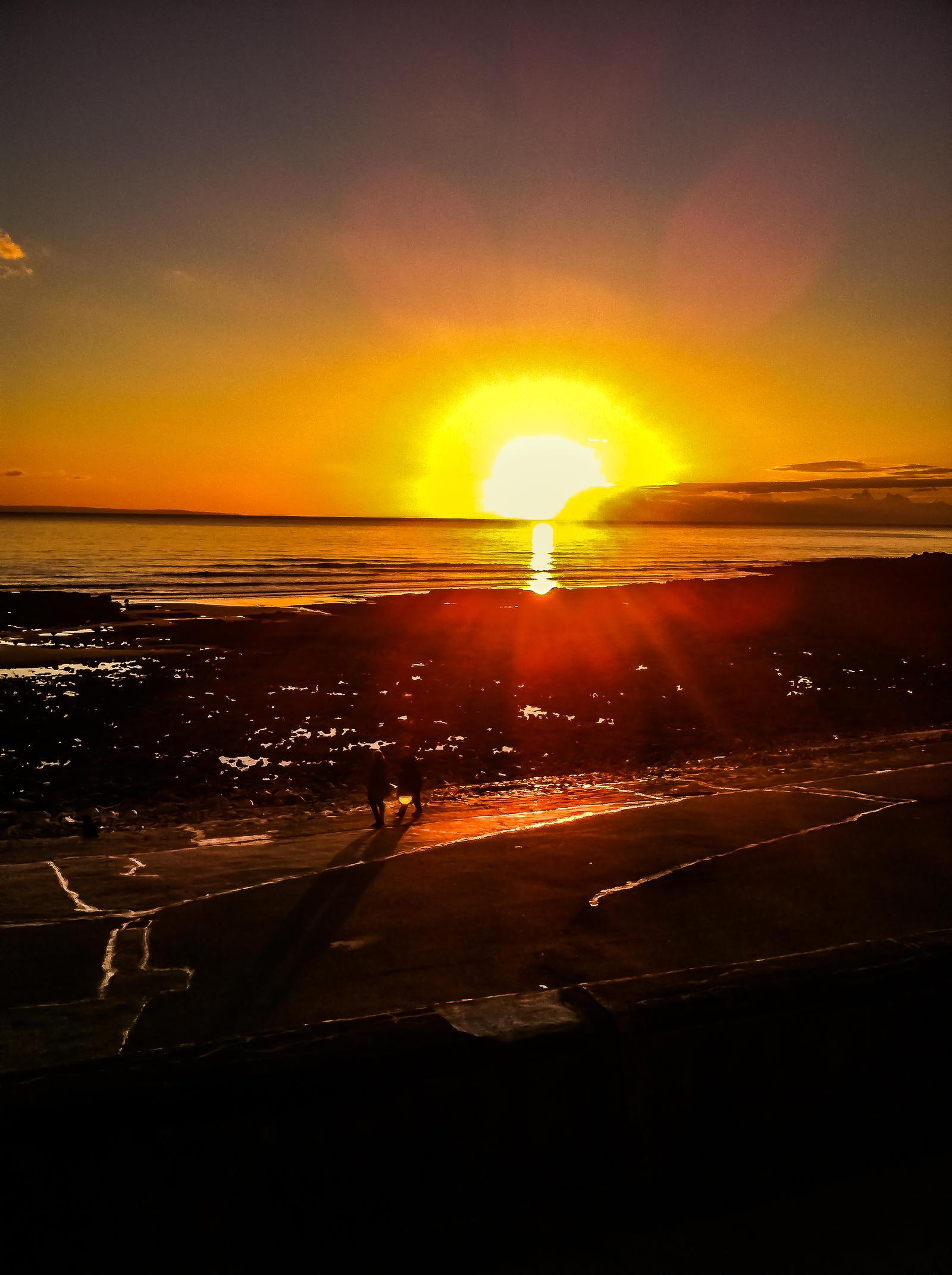 Sunset Overlooking Porthcawl Town Beach Nov 2012 by welshrocker