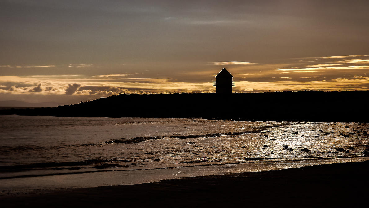 Dusk Skies Overlooking Trecco Bay Beach Oct 2012 by welshrocker