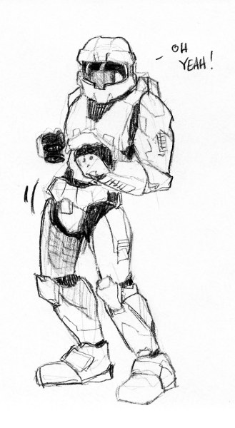 Master Chief sketch by Mouzly