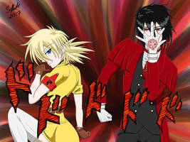 Hellsing Seras and Alucard Jojo's Pose by Skeith72