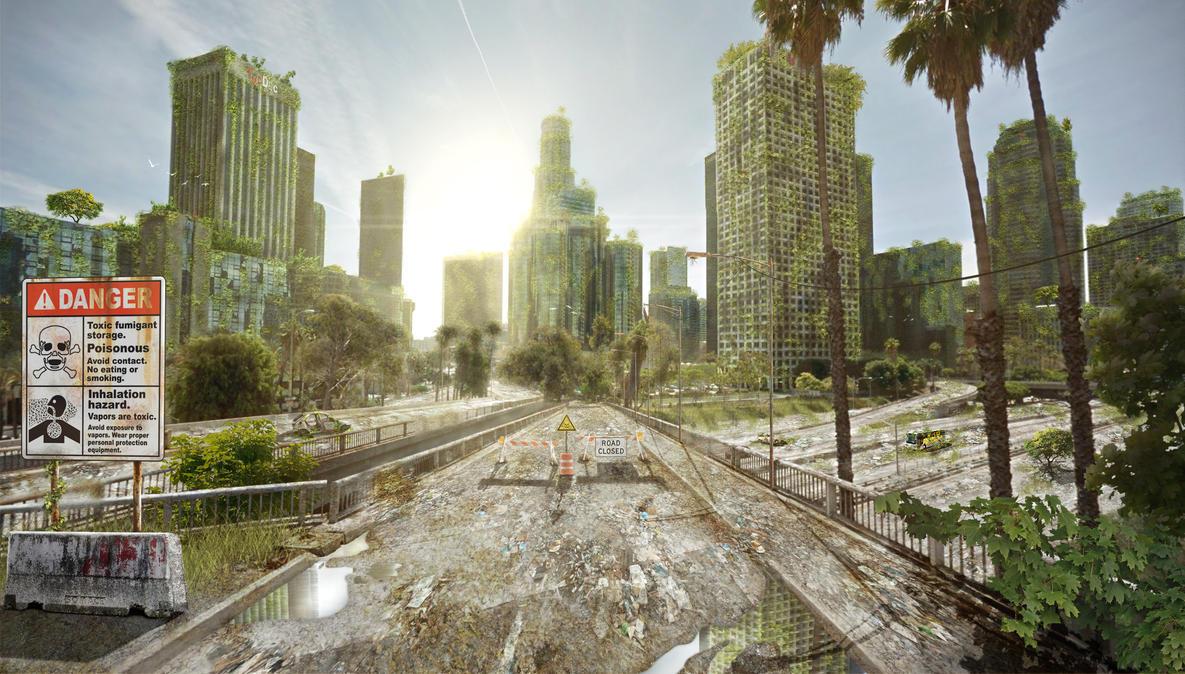 Abandoned LA  |  Matte Painting by razr-designs