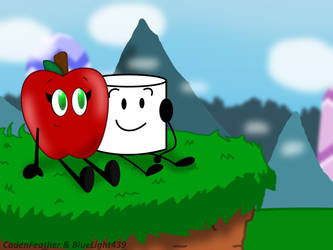 (Collab) Inanimate Insanity|Apple and Marshmallow by CadenFeather