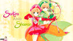 Wallpaper de Sakura and Shaoran (con firma) by Estefania-C