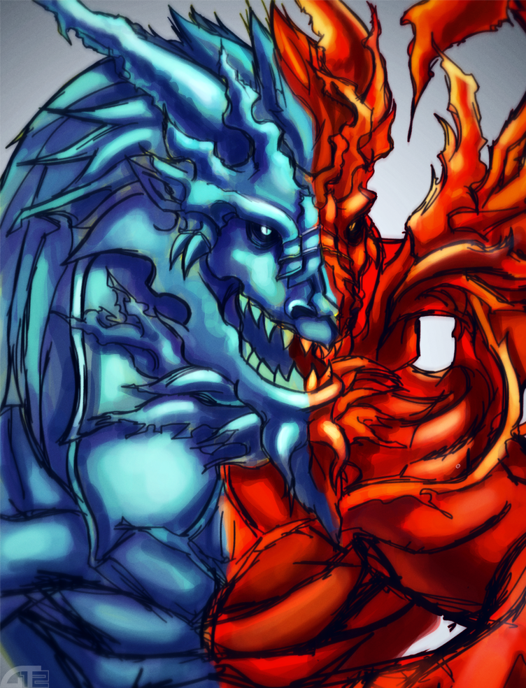 red blue dragon