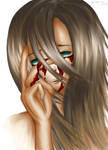 Wiping the blood from her eyes...