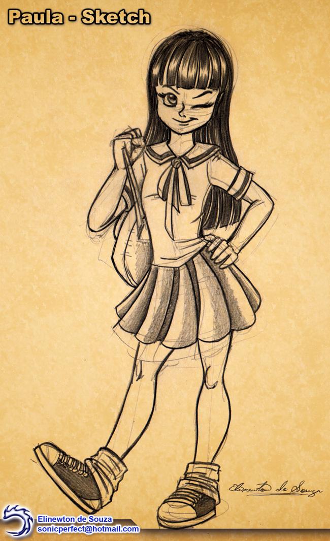 Paula - Sketch 001 by Elinewton