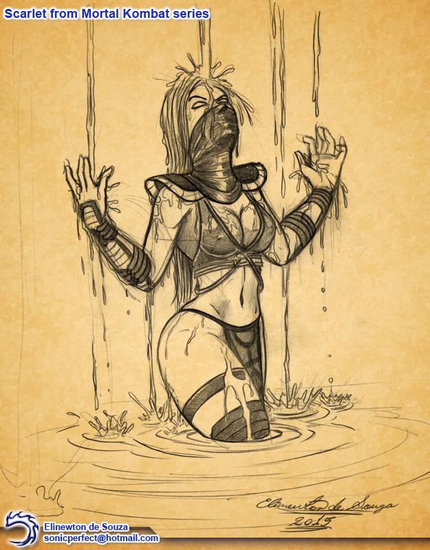 Fan-Art - Mortal-Kombat Scarlet 02 by Elinewton