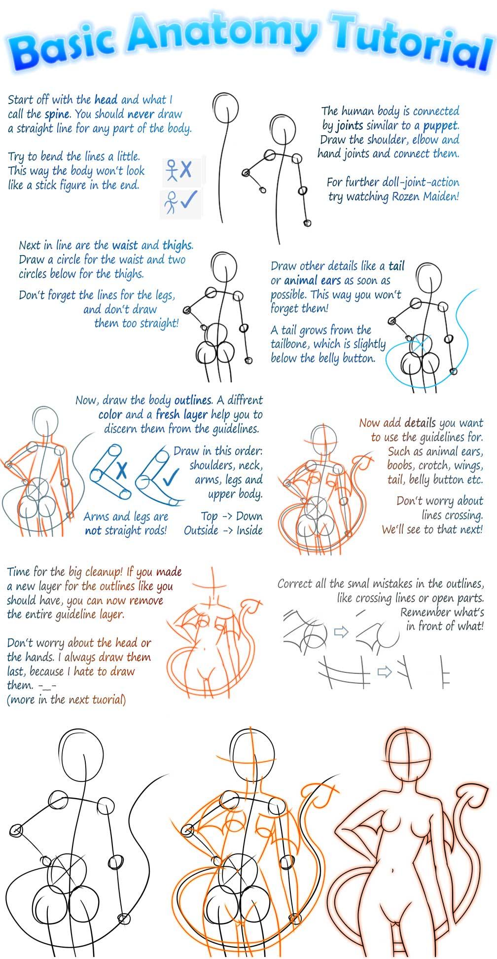 Basic Manga Anatomy Tutorial By Tiiara Basic Manga Anatomy Tutorial By  Tiiara