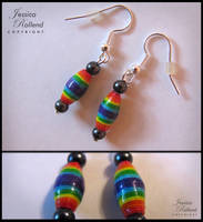 Rainbow Paper Bead Earrings by JRollendz