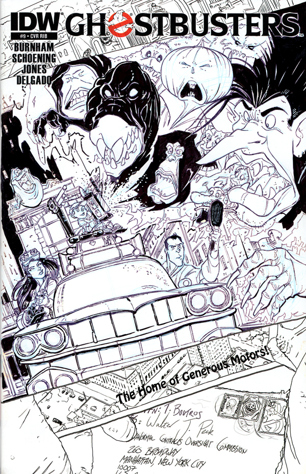 Ghostbusters #9 Sketch Cover - Spook Central by DanSchoening