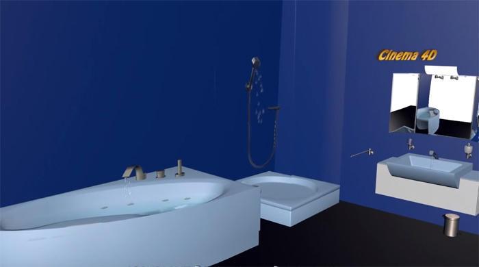 Blue Bathroom Cinema 4D 2016