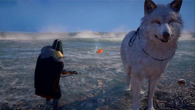 Valhalla Wolf-Kissed fishing Scene