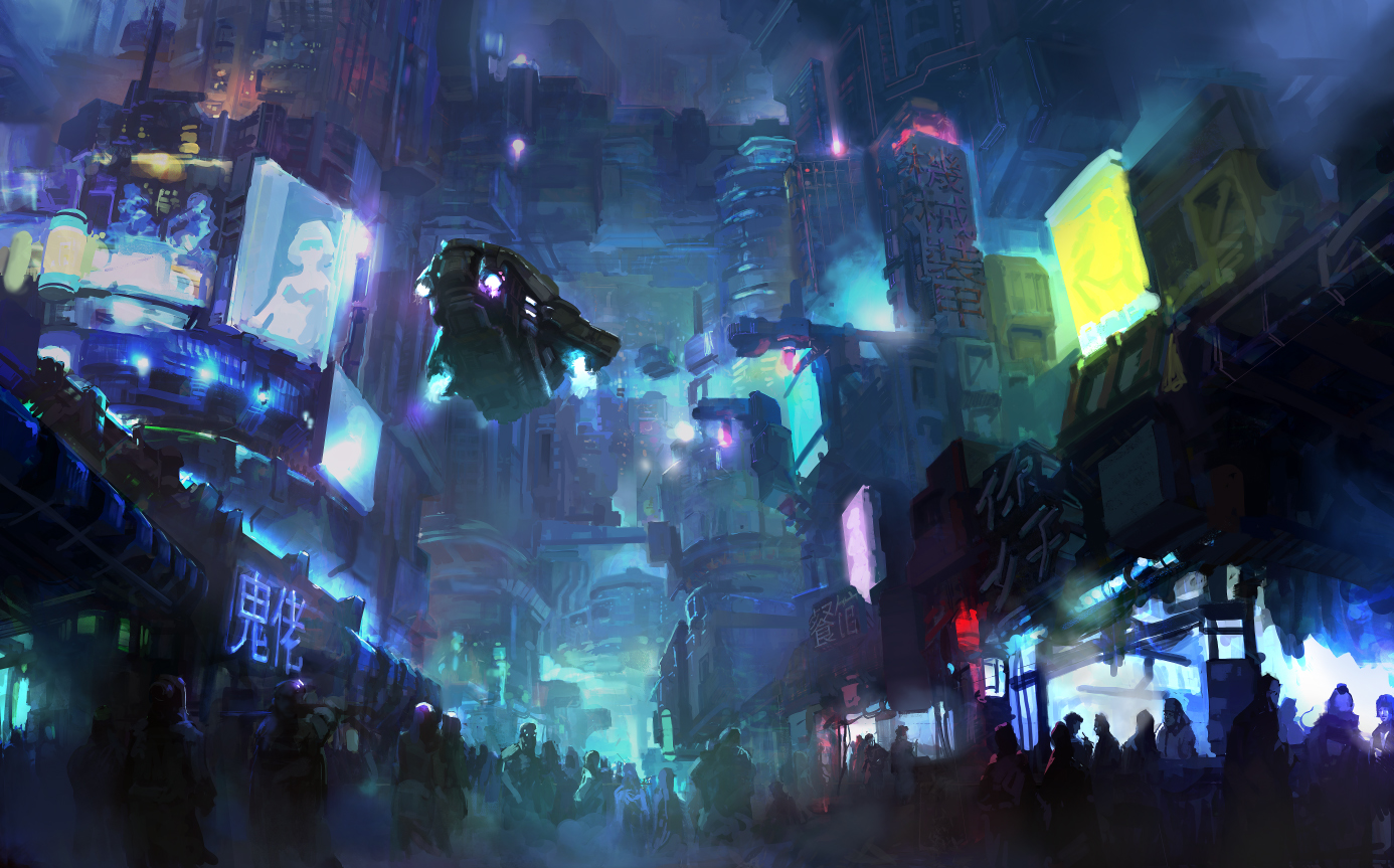 Cyberpunk city by onestepart