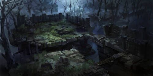dark fantasy environment ruins 01