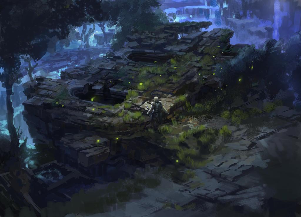 dark fantasy environment ruins 02 by onestepart