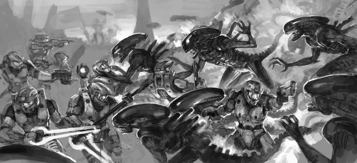 :Aliens vs Halo 2010: WIP by martinhoulden on DeviantArt