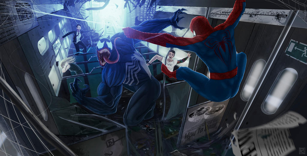 Venom vs Spiderman by Rogerpunk