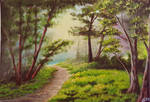 Acrylic Painting Path In The Forest