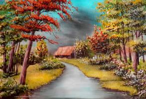 Acrylic Painting River Landscape