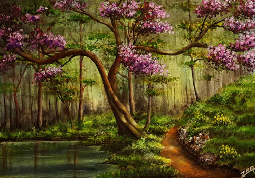 Acrylic Painting Lake in Forest