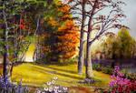 Acrylic Painting Landscape Forest Lake