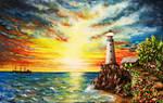Acrylic Painting on Canvas Lighthouse