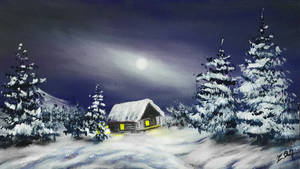 Acrylic Painting On Canvas Snowy landscape Silence