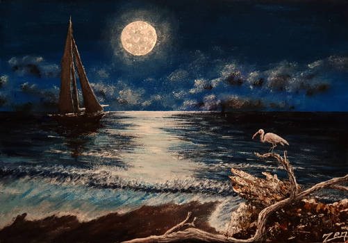 Acrylic Painting On Canvas. sea in Moon Light