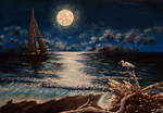Acrylic Painting On Canvas. sea in Moon Light