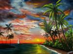 Painting sunset, palm tree, island, sailboat...