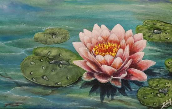 Acrylic Painting On Canvas. Lotus Flower. pankaja